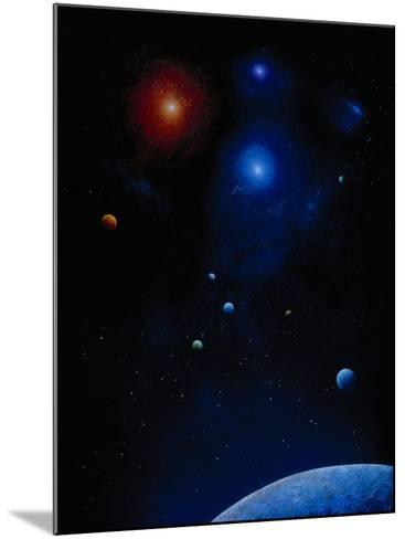 Illustration of Planets and Stars-Ron Russell-Mounted Photographic Print