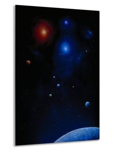 Illustration of Planets and Stars-Ron Russell-Metal Print