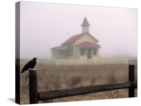 Bird on Fence in Front of Schoolhouse-Roger Holden-Stretched Canvas Print
