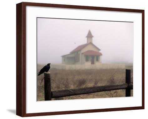 Bird on Fence in Front of Schoolhouse-Roger Holden-Framed Art Print