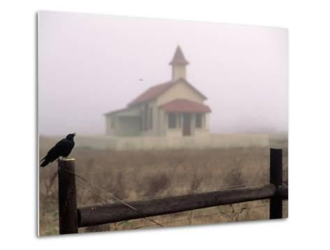 Bird on Fence in Front of Schoolhouse-Roger Holden-Metal Print