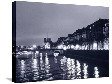 View of Ile St. Louis, Seine River, France-Walter Bibikow-Stretched Canvas Print