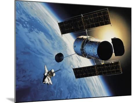 Space Shuttle and Earth-David Bases-Mounted Photographic Print