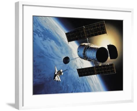 Space Shuttle and Earth-David Bases-Framed Art Print