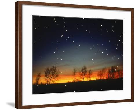 Silhouetted Landscape Below Star-Filled Sky-Chris Rogers-Framed Art Print