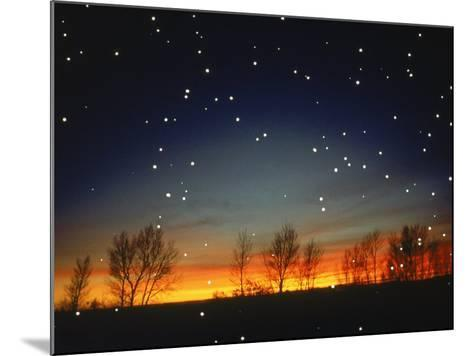 Silhouetted Landscape Below Star-Filled Sky-Chris Rogers-Mounted Photographic Print