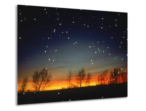 Silhouetted Landscape Below Star-Filled Sky-Chris Rogers-Metal Print