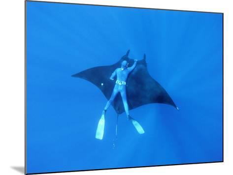 Diver Holds on to Giant Manta Ray, Mexico-Jeffrey Rotman-Mounted Photographic Print