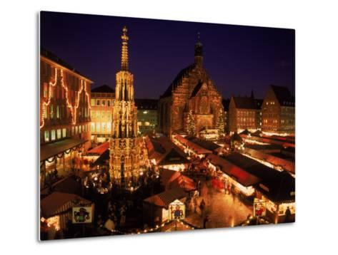 Christmas Fair at Night, Nurnberg, Germany-David Ball-Metal Print