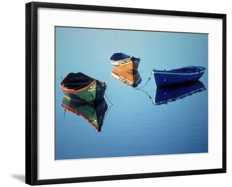 Moored Rowboats, Olhao, Portugal-Mitch Diamond-Framed Art Print