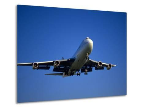 Commercial Airplane in Flight-Mitch Diamond-Metal Print
