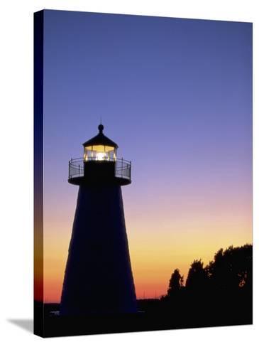 Lighthouse at Sunset, Mattapoisett, MA-James Lemass-Stretched Canvas Print