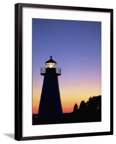 Lighthouse at Sunset, Mattapoisett, MA-James Lemass-Framed Art Print