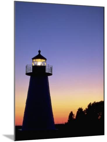 Lighthouse at Sunset, Mattapoisett, MA-James Lemass-Mounted Photographic Print