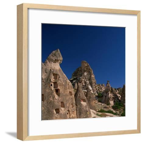Cone Tufa Buildings, Uchisar, Cappadocia, Turkey-Walter Bibikow-Framed Art Print