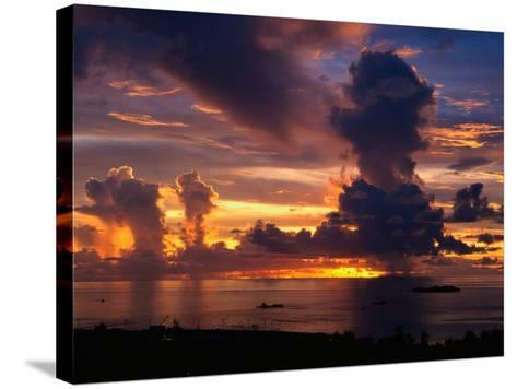 Sunset Over Harbor, Saipan-Francie Manning-Stretched Canvas Print