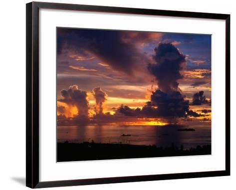 Sunset Over Harbor, Saipan-Francie Manning-Framed Art Print