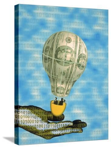 Hand with Financial Hot Air Balloon and Binary Code-Carol & Mike Werner-Stretched Canvas Print