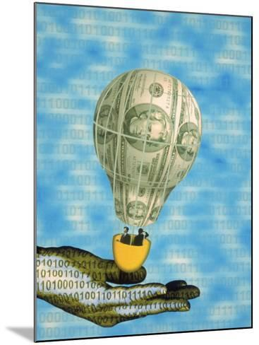 Hand with Financial Hot Air Balloon and Binary Code-Carol & Mike Werner-Mounted Photographic Print