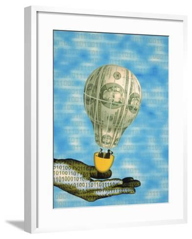 Hand with Financial Hot Air Balloon and Binary Code-Carol & Mike Werner-Framed Art Print