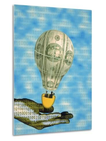 Hand with Financial Hot Air Balloon and Binary Code-Carol & Mike Werner-Metal Print