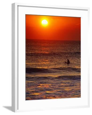 Surfer at Sunrise, FL-Jeff Greenberg-Framed Art Print