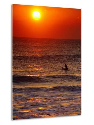 Surfer at Sunrise, FL-Jeff Greenberg-Metal Print