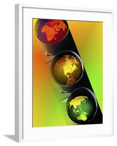 Globes in Traffic Light-Carol & Mike Werner-Framed Art Print
