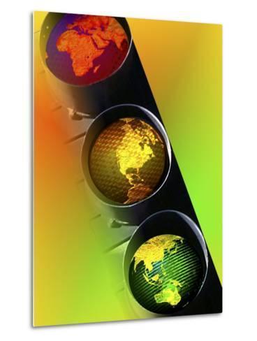 Globes in Traffic Light-Carol & Mike Werner-Metal Print