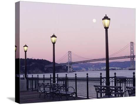 Street Lamps with Bridge in the Background-Robin Allen-Stretched Canvas Print