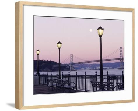 Street Lamps with Bridge in the Background-Robin Allen-Framed Art Print