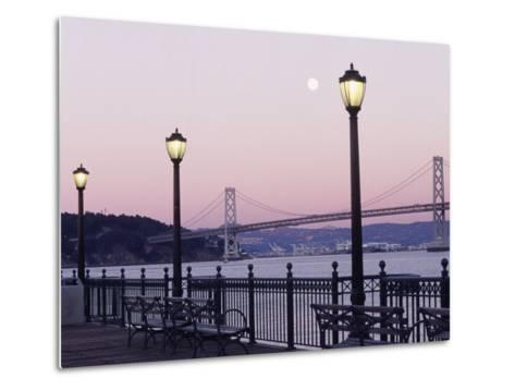 Street Lamps with Bridge in the Background-Robin Allen-Metal Print