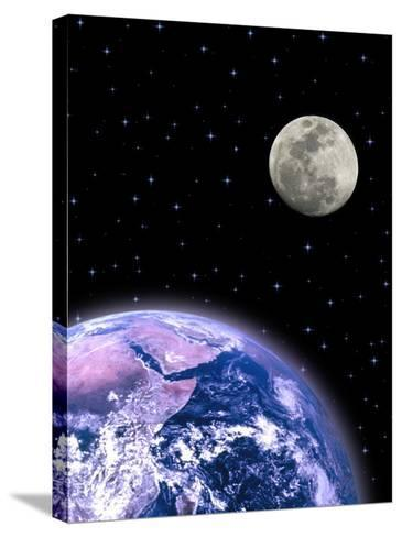 Earth and the Moon-David Davis-Stretched Canvas Print