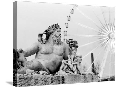 Statue and Ferris Wheel, Jardin Des Tuileries-Walter Bibikow-Stretched Canvas Print