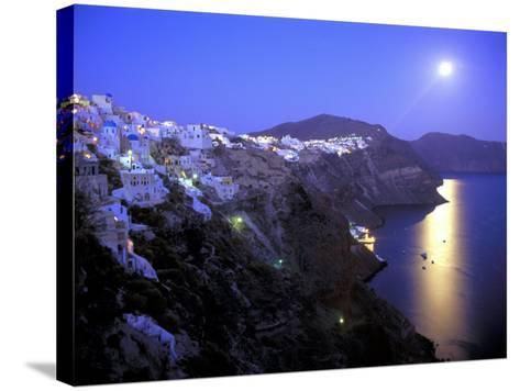 Moonrise on Santorini, Greece-Kevin Beebe-Stretched Canvas Print