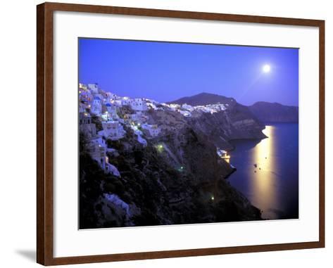 Moonrise on Santorini, Greece-Kevin Beebe-Framed Art Print