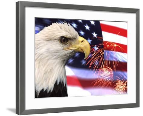 Eagle, Firework, Patriotism in the USA-Bill Bachmann-Framed Art Print