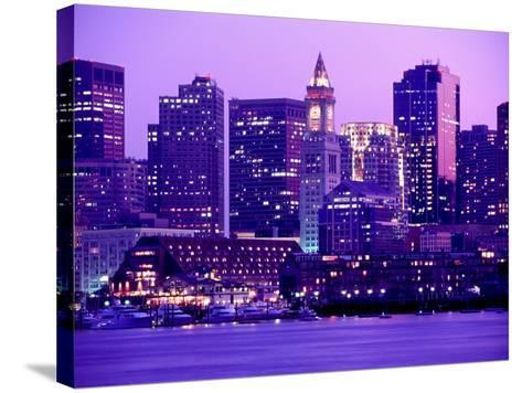 Nighttime Downtown Boston, MA-John Coletti-Stretched Canvas Print