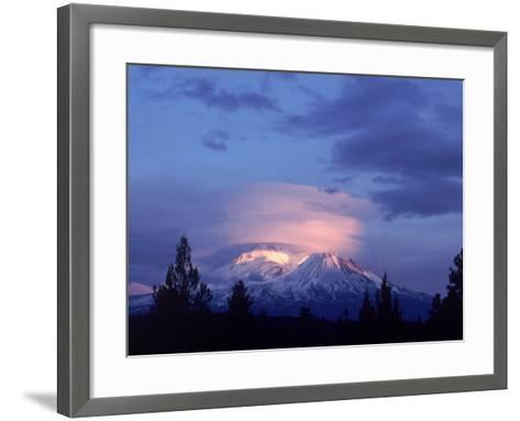 Mt. Shasta at Dusk-Mark Gibson-Framed Art Print