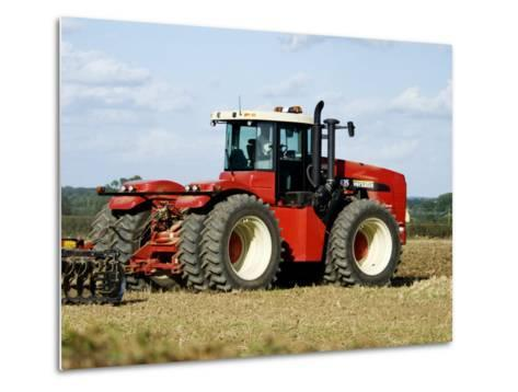 4 Wheel Drive Tractor Pulling a Disc Harrow, Cotswolds, England-Martin Page-Metal Print