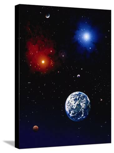 Space Illustration of Earth and Planets-Ron Russell-Stretched Canvas Print