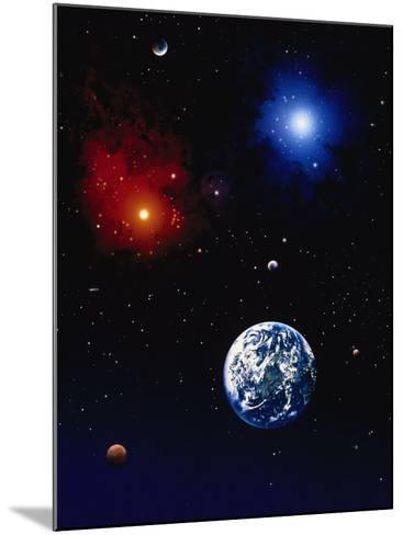 Space Illustration of Earth and Planets-Ron Russell-Mounted Photographic Print