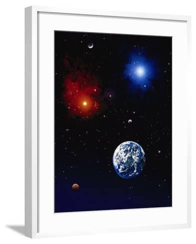 Space Illustration of Earth and Planets-Ron Russell-Framed Art Print