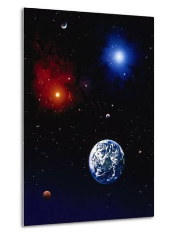 Space Illustration of Earth and Planets-Ron Russell-Metal Print