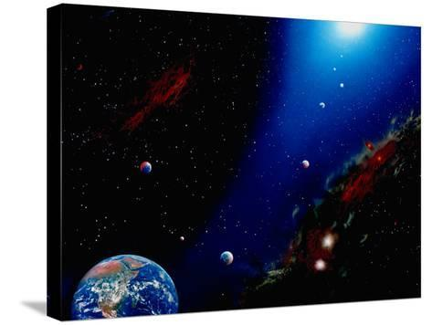 Illustration of Earth, Planets and Sun-Ron Russell-Stretched Canvas Print
