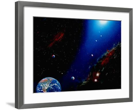 Illustration of Earth, Planets and Sun-Ron Russell-Framed Art Print