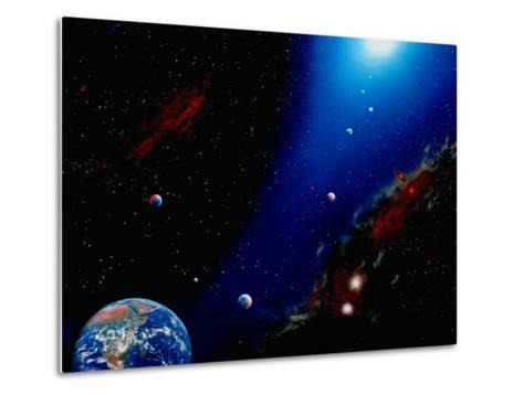 Illustration of Earth, Planets and Sun-Ron Russell-Metal Print