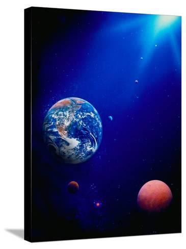 Illustration of Earth and Space-Ron Russell-Stretched Canvas Print