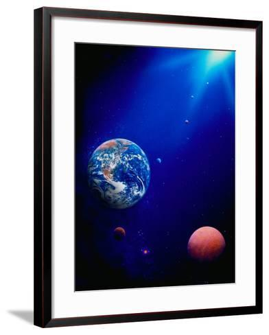 Illustration of Earth and Space-Ron Russell-Framed Art Print