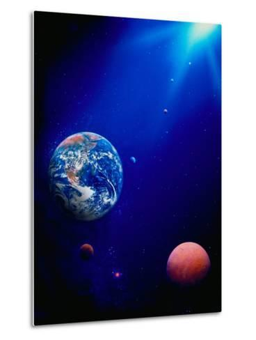 Illustration of Earth and Space-Ron Russell-Metal Print
